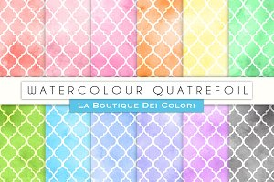 Watercolor Quatrefoil Digital Papers