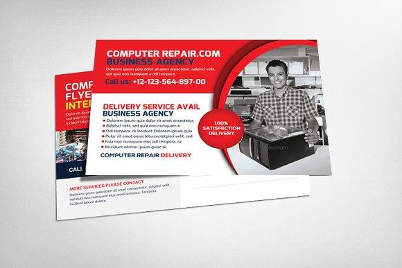 computer repair postcard templates card templates creative market. Black Bedroom Furniture Sets. Home Design Ideas