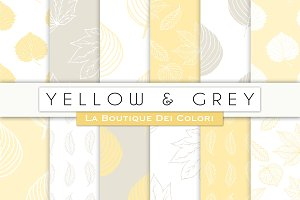 Yellow & Grey Leave Digital Papers