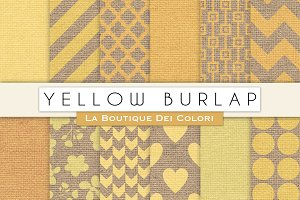 Yellow Burlap Digital Papers