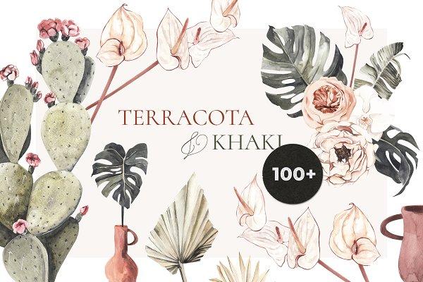 Illustrations: Lana Elanor - TERRACOTA & KHAKI boho tropical set