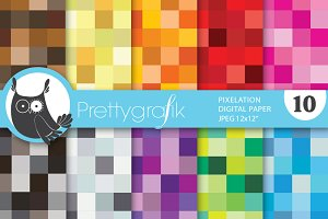 pixel mosaic digital paper
