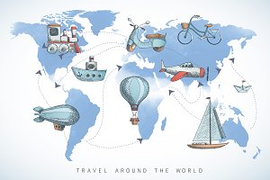 Travel icons on the world map.