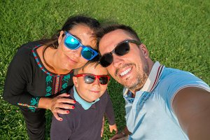 Selfie family on summer holiday