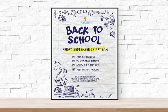 back to school event flyer template flyer templates creative market