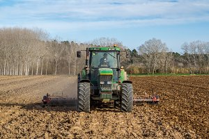 Plowing a field with a crawler (6)