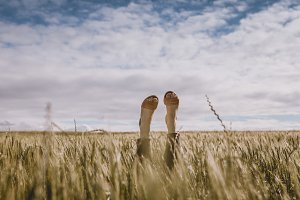 Woman's Feet Sticking Out of a Field