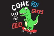 Cute dino rides on skateboarder