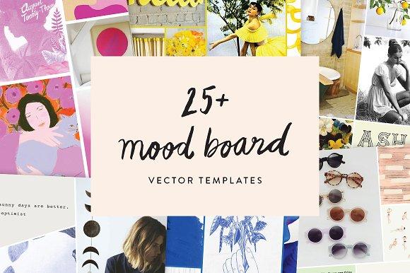 25 mood board vector templates presentation templates creative market. Black Bedroom Furniture Sets. Home Design Ideas