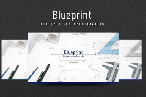 Blueprint presentation templates creative market blueprint presentations malvernweather Image collections