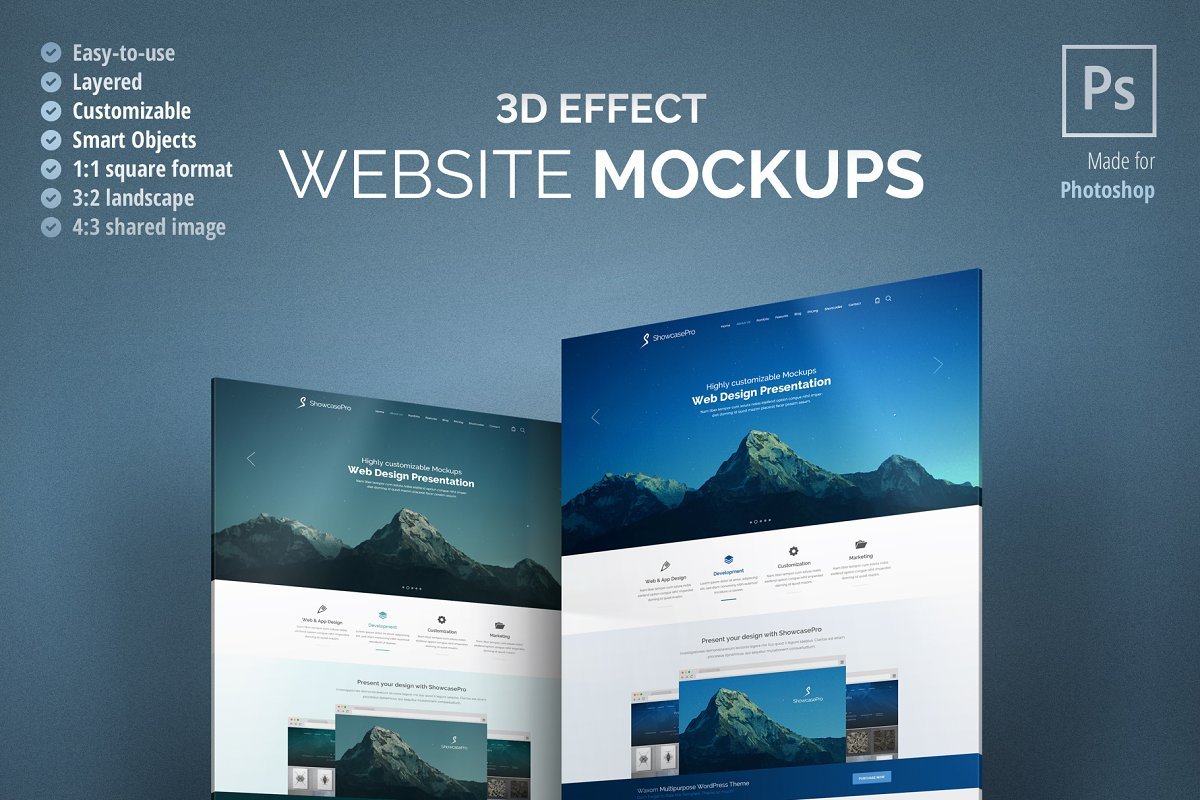 3d Effect Website Mockup Creative Mobile Web Mockups