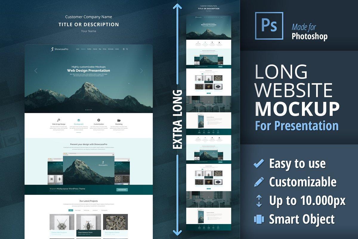 Long Website Mockup For Presentation Creative Mobile Web