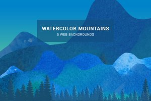 Watercolor Mountains Web Background