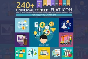 Universal Concept Flat Icons