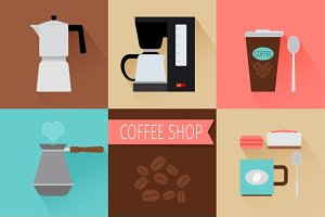 Coffee flat icons & pattern