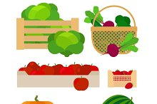 Vegetables and fruits farm baskets