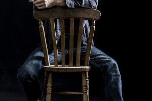 Addict, depressed man