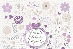 Vector purple flowers
