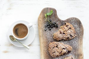 Black-currant scones & cup of coffee