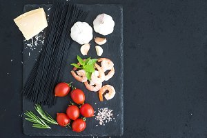 Ingredients for pasta with shrimps