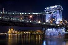 Chain bridge at night, Budapest