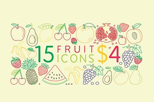 15 fruit vector icons for $4