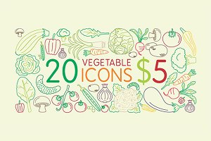 20 fresh vegetable icons for $5