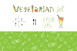 Vegetarian set+seamless patterns