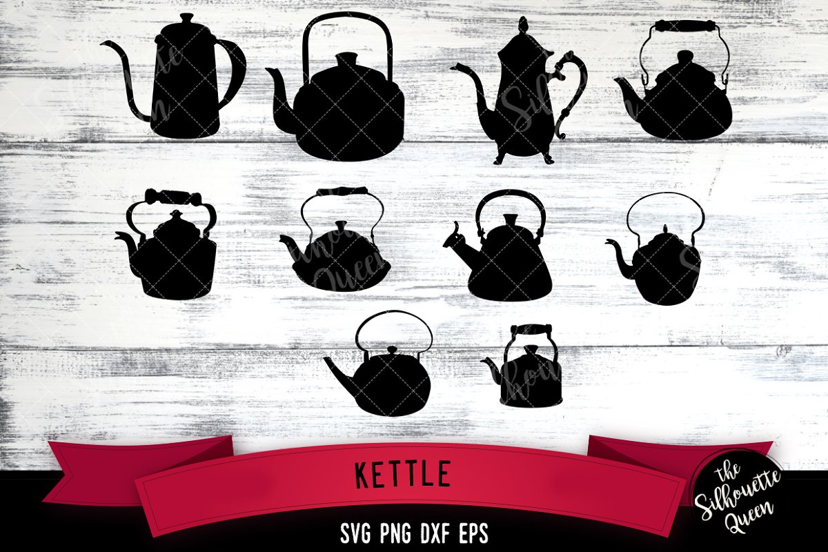 Kettle svg file, tea pot svg cut fil