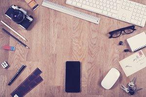 Top view office desk hero header