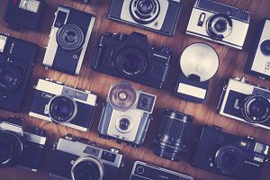 vintage and retro camera set