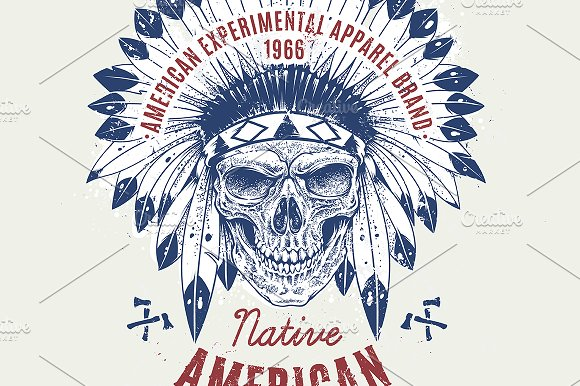 Native American | Print with Skull
