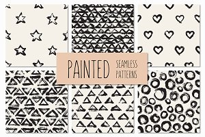 Painted Seamless Patterns Set 1