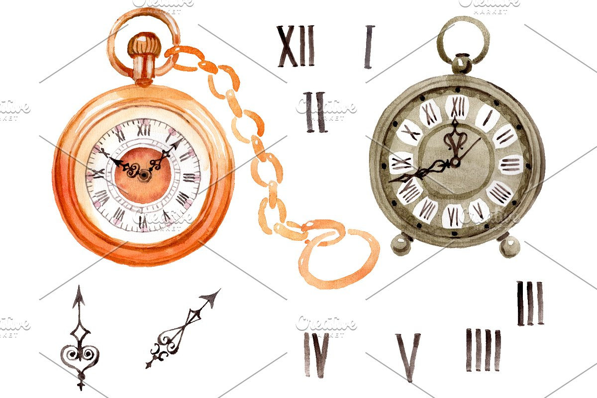 Clock old antiques watercolor png ~ Illustrations ~ Creative