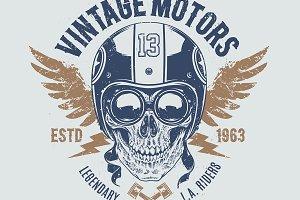 Vintage Motors | Print with Skull