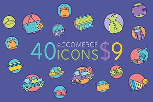 40 Amazing eCommerce flat icons