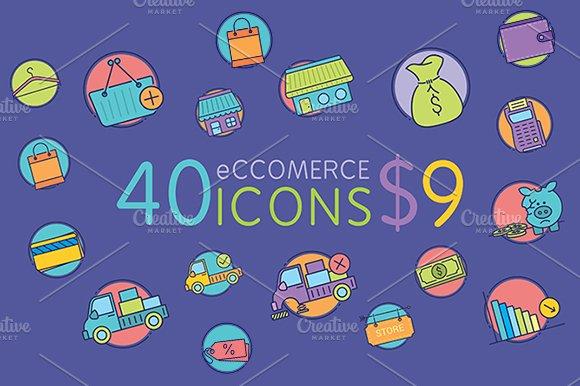 40 Amazing eCommerce flat icons in Graphics