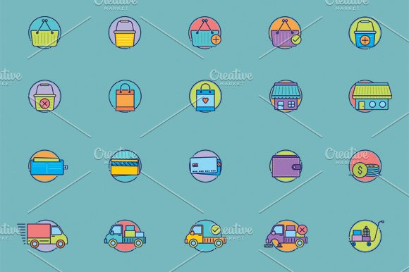 40 Amazing eCommerce flat icons in Graphics - product preview 3
