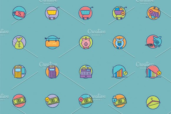 40 Amazing eCommerce flat icons in Graphics - product preview 4