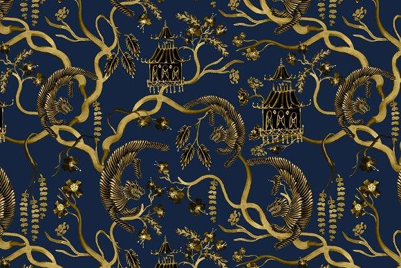 Chinoiserie Tiger Blossom Seamless Custom Designed Graphic