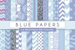 Blue Patterned Digital Papers