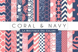 Coral & Navy Digital Papers