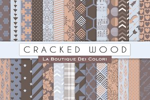 Cracked Wood Digital Papers