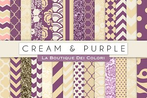 Cream & Purple Digital Papers
