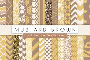 Mustard Brown Digital Papers