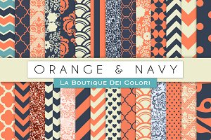 Orange & Navy Digital Papers
