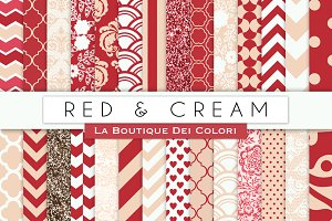 Red & Cream Digital Papers