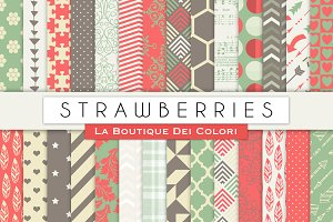 Strawberries Digital Papers