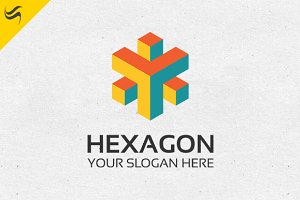 Hexagon Rainbow Color Logo Template
