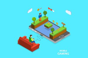 Mobile gaming flat isometric concept